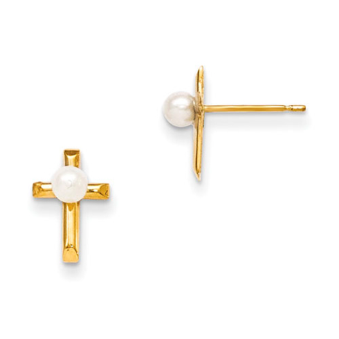 14kt Yellow Gold Freshwater Cultured Pearl Children's Cross Earrings
