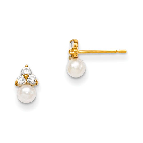 14kt Yellow Gold Madi K CZ Cluster and Freshwater Cultured Pearl Post Earrings
