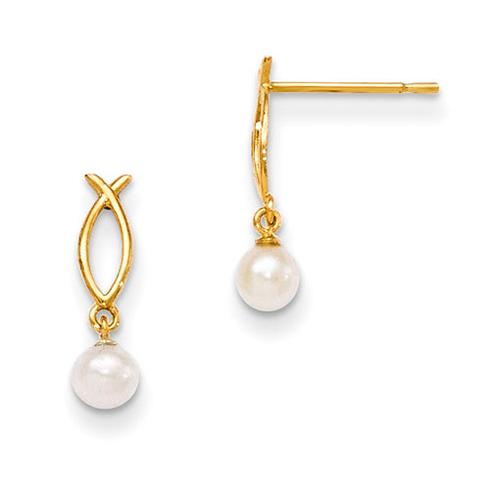 14kt Yellow Gold Freshwater Cultured Pearl Ichthus Children's Earrings