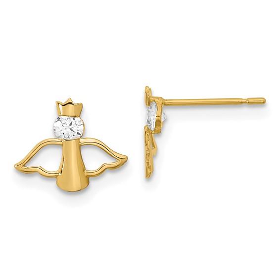 14kt Yellow Gold Madi K CZ Children's Angel Dangle Post Earrings