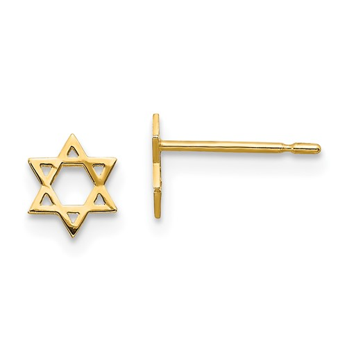 14kt Yellow Gold Madi K Children's Star of David Post Earrings