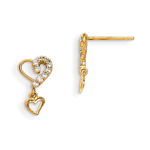 14kt Yellow Gold Madi K CZ Children's Hearts Dangle Post Earrings
