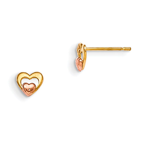 14kt Yellow and Rose Gold Madi K Children's Inset Heart Post Earrings