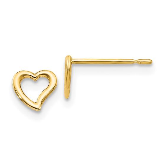 14kt Yellow Gold Madi K Children's Open Heart Post Earrings