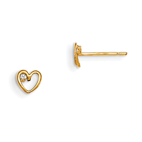 14kt Yellow Gold Madi K Children's Heart Post Earrings with CZ Accent
