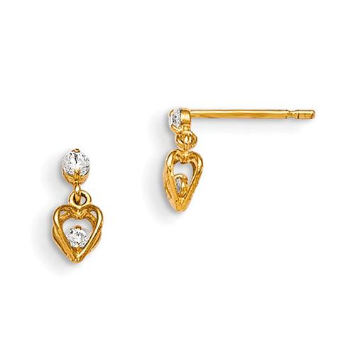 14kt Yellow Gold Madi K CZ Children's Heart Dangle Earrings