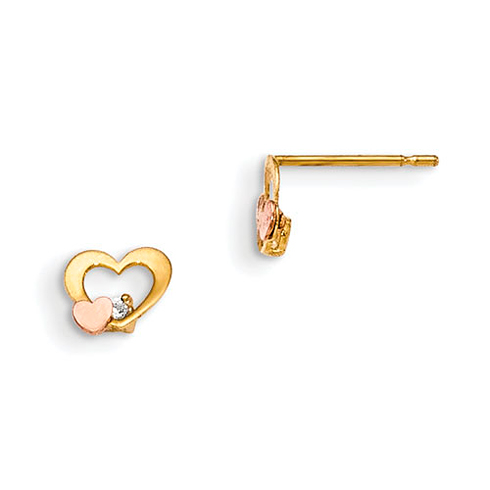 14kt Yellow and Rose Gold Madi K CZ Children's Heart Post Earrings