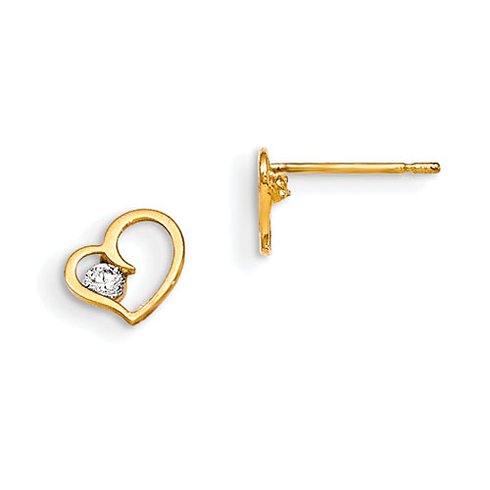 14kt Yellow Gold Madi K CZ Children's Nestled Heart Post Earrings