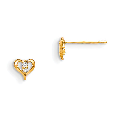 14kt Yellow Gold Madi K Children's Heart Post Earrings with CZs