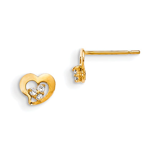 14kt Yellow Gold Madi K CZ Cluster Children's Heart Post Earrings