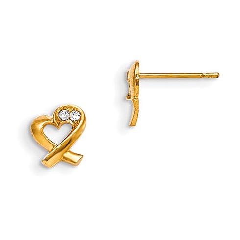 14kt Yellow Gold Madi K CZ Children's Heart Ribbon Post Earrings