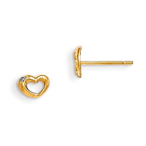 14kt Yellow Gold Madi K CZ Children's Bulging Heart Post Earrings