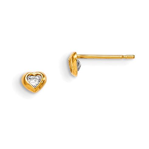 14kt Yellow Gold Madi K CZ Children's Heart Stud Earrings