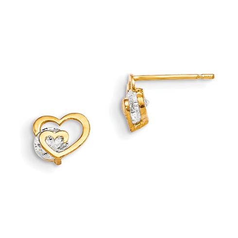 14kt Yellow Gold Madi K CZ Children's Heart Wedge Post Earrings