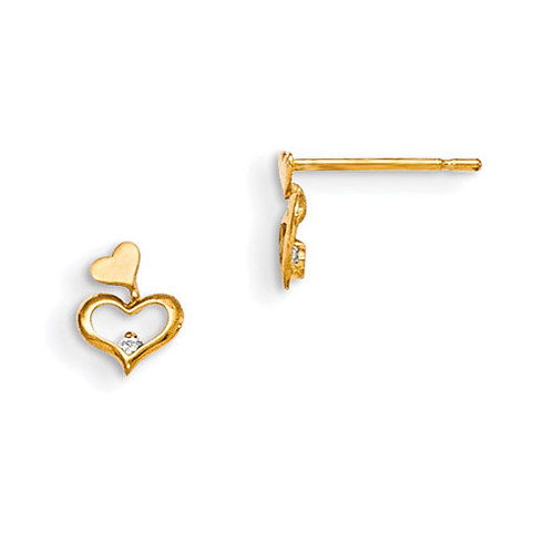 14kt Yellow Gold Madi K CZ Children's Heart Duo Post Earrings