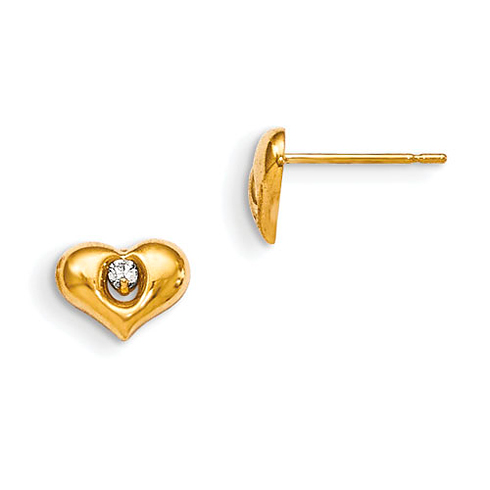 14kt Yellow Gold Madi K CZ Children's Puffed Heart Post Earrings