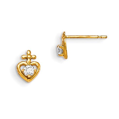 14kt Yellow Gold Madi K CZ Children's Heart Cross Post Earrings