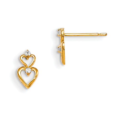 14kt Yellow Gold Madi K CZ Children's Stacked Hearts Post Earrings