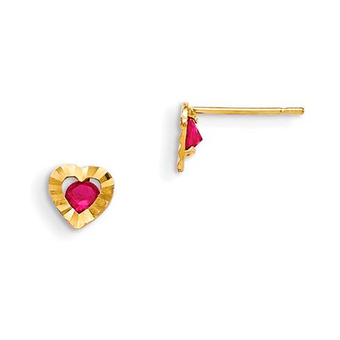 14kt Yellow Gold Madi K Red CZ Children's Heart Post Earrings