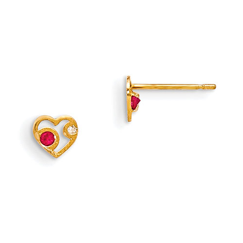 14kt Yellow Gold Madi K Red and White CZ Children's Heart Post Earrings