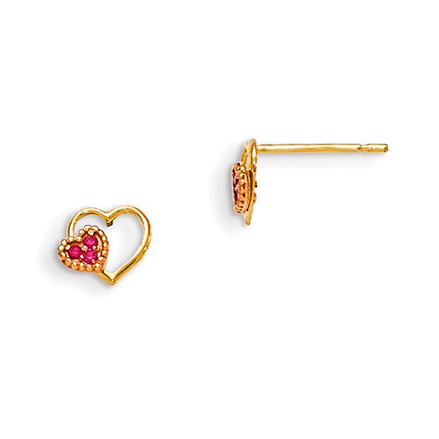 14kt Yellow and Rose Gold Madi K Red CZ Children's Heart Post Earrings