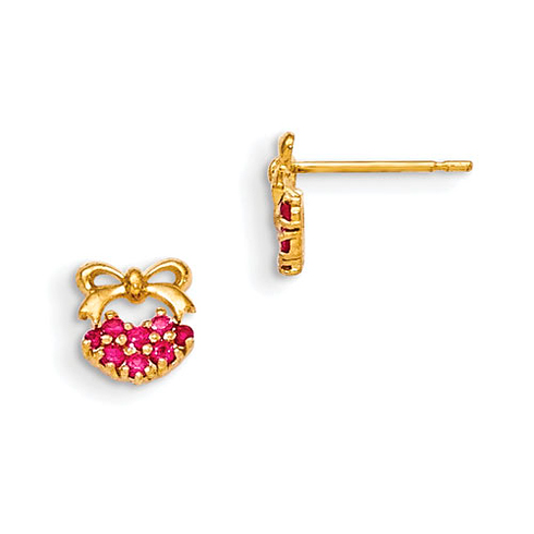 14kt Yellow Gold Madi K Red CZ Children's Heart and Bow Post Earrings