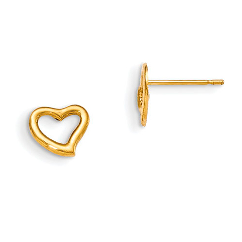 14kt Yellow Gold Madi K Children's Heart Outline Post Earrings