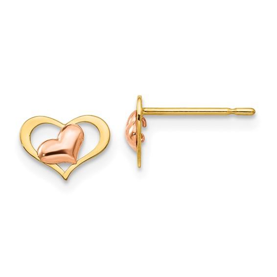14kt Yellow and Rose Gold Madi K Children's Heart Post Earrings