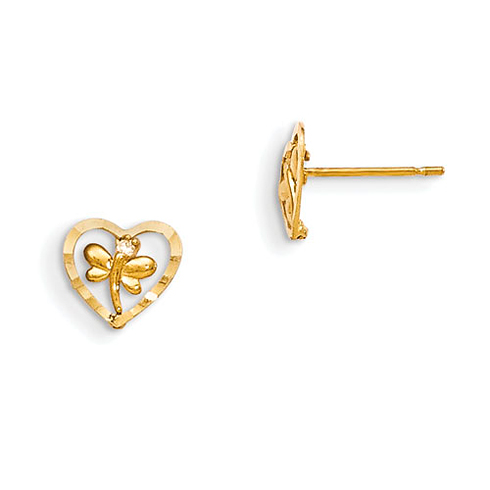 14kt Yellow Gold CZ Children's Heart Dragonfly Post Earrings