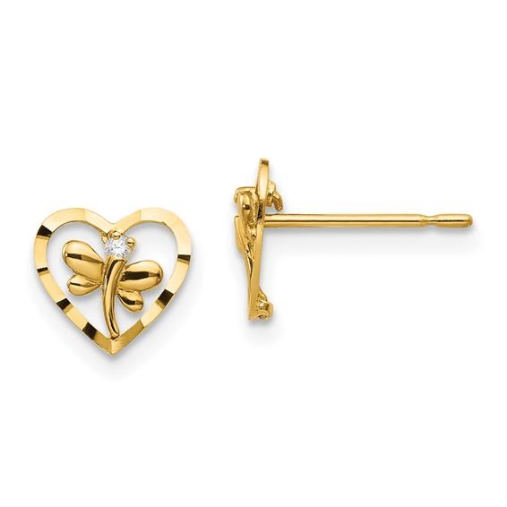 14kt Yellow Gold CZ Children's Heart Dragonfly Post Earrings
