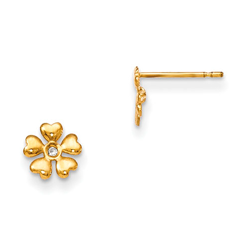 14kt Yellow Gold Madi K CZ Children's Flower Post Earrings