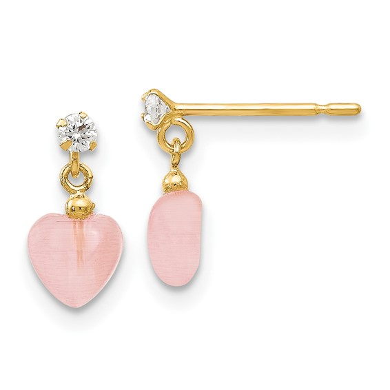 14kt Yellow Gold Madi K CZ and Pink Cat's Eye Heart Dangle Post Earrings