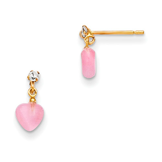 14kt Yellow Gold Kids' CZ and Pink Cat's Eye Heart Dangle Earrings