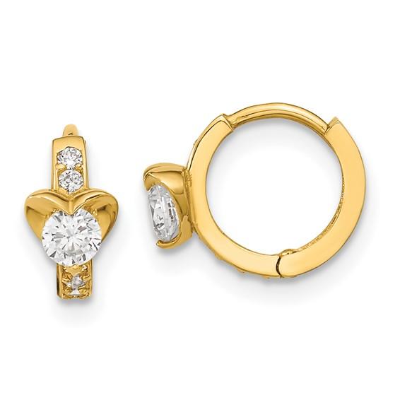 14kt Yellow Gold Madi K CZ Children's Heart Hinged Hoop Earrings