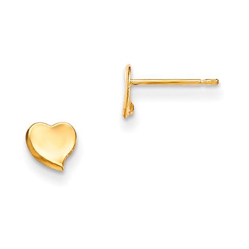 14kt Yellow Gold Madi K Children's Flat Heart Post Earrings