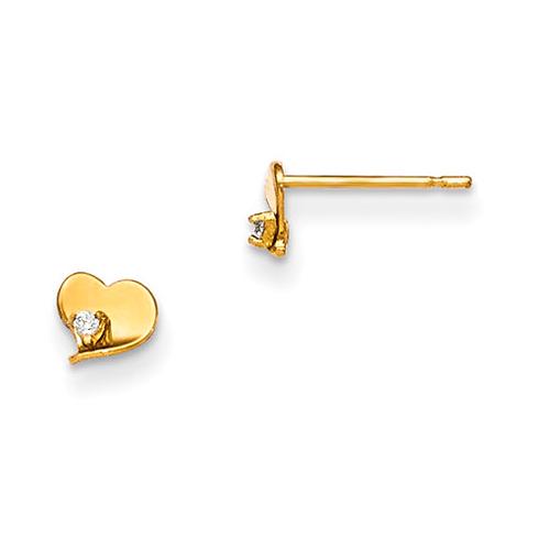 14kt Yellow Gold Madi K CZ Children's Flat Heart Post Earrings