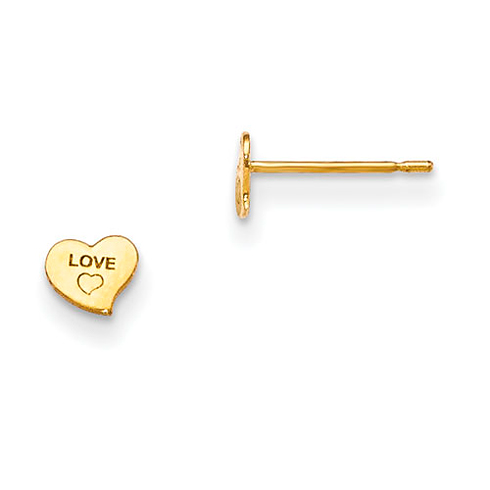 14kt Yellow Gold Madi K Children's Love Heart Post Earrings