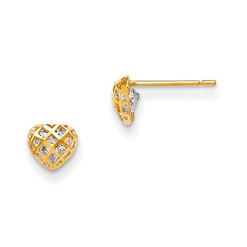 14kt Yellow Gold 3/16in Madi K CZ Children's Screen Heart Post Earrings