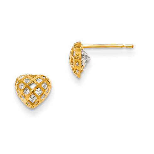 14kt Yellow Gold 1/4in Madi K CZ Children's Heart Post Earrings