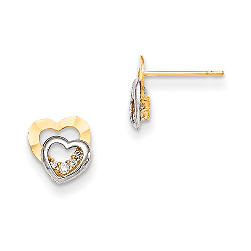 14kt Two-tone Gold Madi K CZ Children's Heart Post Earrings
