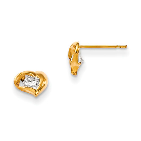 14kt Yellow Gold Madi K CZ Children's Stretched Heart Post Earrings