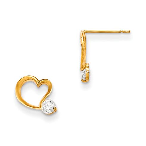 14kt Yellow Gold Madi K CZ Children's Border Heart Post Earrings