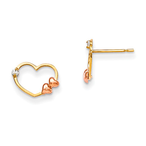 14kt Yellow Gold Madi K Children's Heart Post Earrings with Rose Gold Hearts