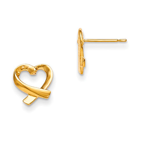 14kt Yellow Gold Madi K Children's Crossed Heart Post Earrings