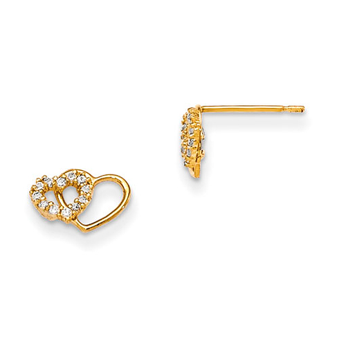 14kt Yellow Gold Madi K CZ Children's Interlocking Heart Post Earrings
