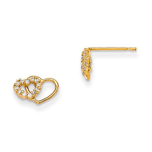 14kt Yellow Gold Madi K CZ Children's Interlocking Heart Post Earrings