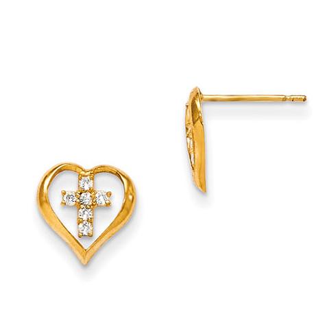 14kt Yellow Gold Madi K CZ Children's Heart and Center Cross Post Earrings