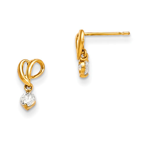 14kt Yellow Gold Madi K CZ Children's Tucked Heart Dangle Post Earrings