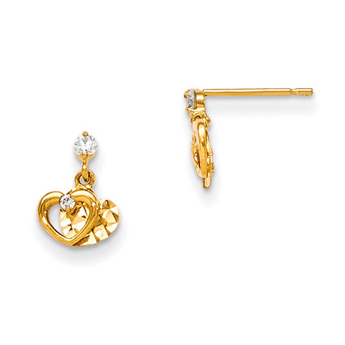 14kt Yellow Gold Madi K CZ Children's Hearts Post Earrings