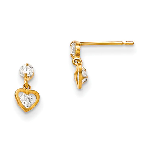 14kt Yellow Gold Madi K Children's Heart Dangle Post Earrings with Two Round CZs